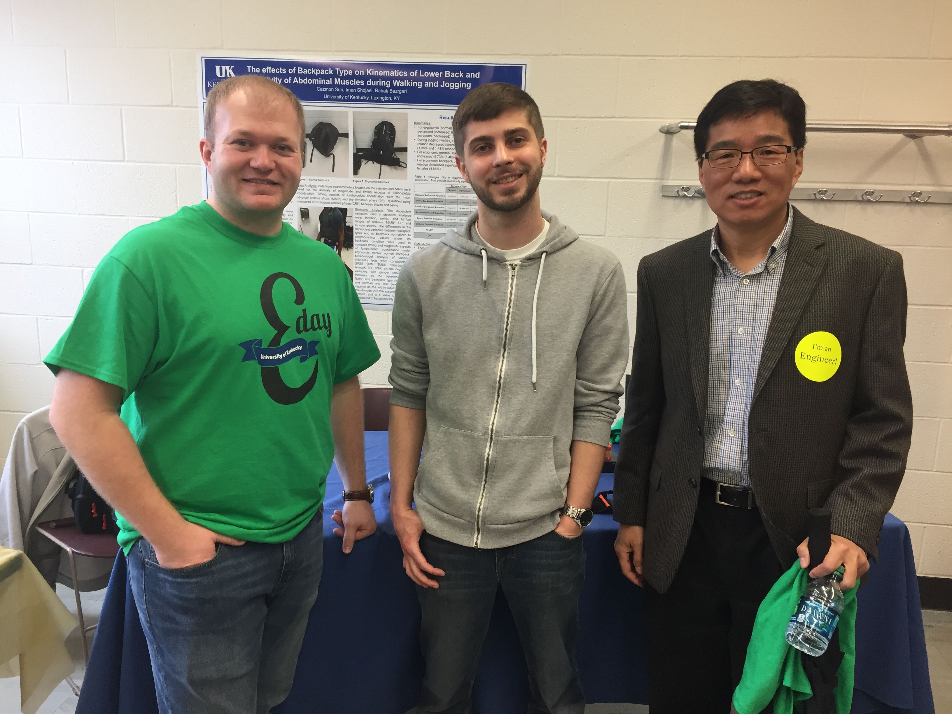 UK BME Department Chair, Dr. Guigen Zhang (right), with UK BMES members in front of the Human Musculoskeletal Biomechanics E-day exhibit.