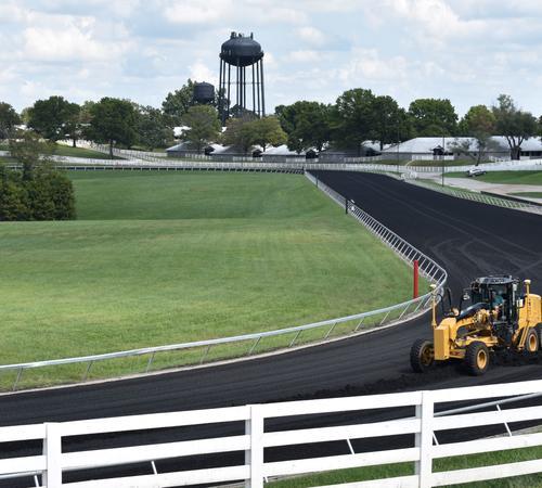 Racecourse grading in process. Photo by Katie Pratt.