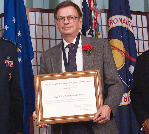 Anthony Powell receives NASA's Exceptional Service Medal for his pioneering research in silicon carbide semiconductors (2002). Photo by NASA.