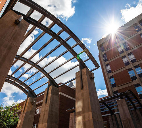 The arches inside the University of Kentucky College of Engineering quadrangle