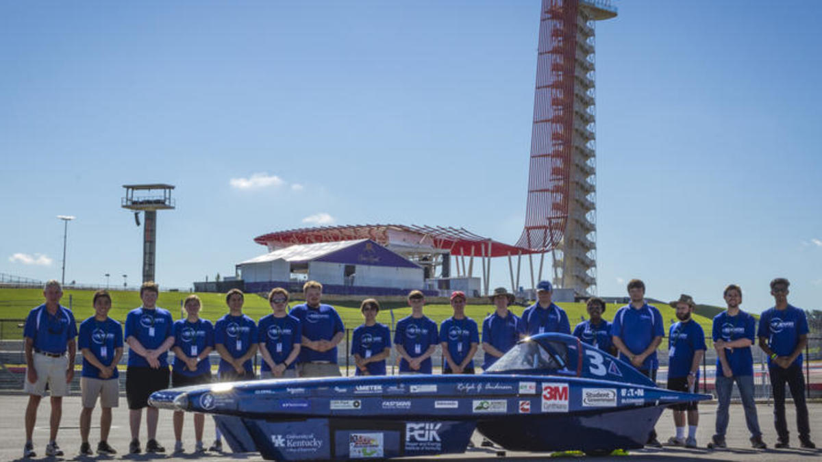 UK Solar Car Team at the Formula Sun Grand Prix in Austin, Texas.
