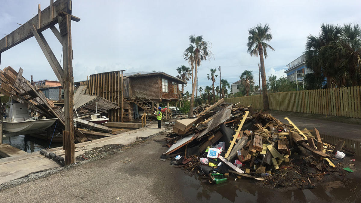 Hurricane Michael aftermath at Mexico Beach, Florida.